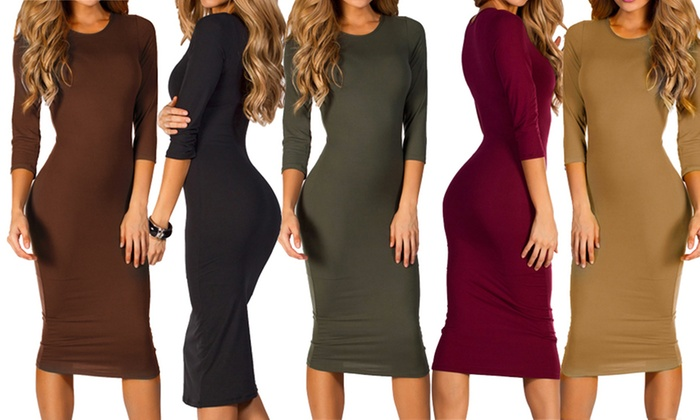 Up To 49 Off On Womens 34 Sleeve Midi Dress Groupon Goods