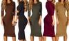 Women's 3/4-Sleeve Midi Bodycon Dress - Plus-Sizes Included