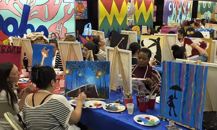 The Artistic Giraffe Art Studio Gallery  - The Artistic Giraffe Art Studio: 2.5 Hour BYOB Canvas Painting Class with Artist Stephanie O'Connor at The Artistic Giraffe Art Studio