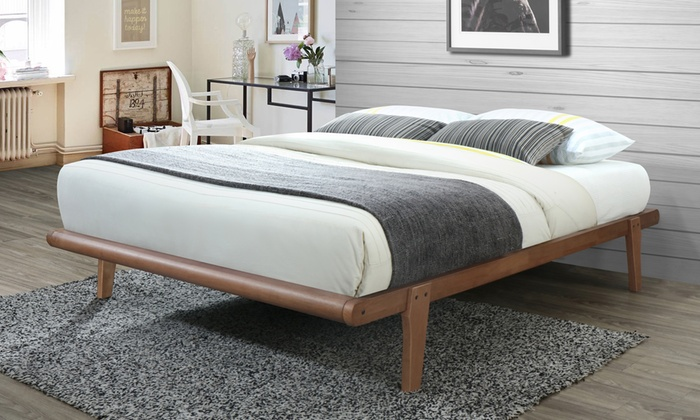 Gold Glass Dining Table, Venice Mid Century Modern Walnut Finished Platform Bed Groupon