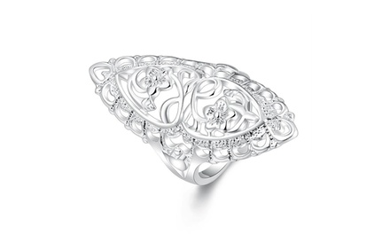 Floral Filigree Ring in Sterling Silver