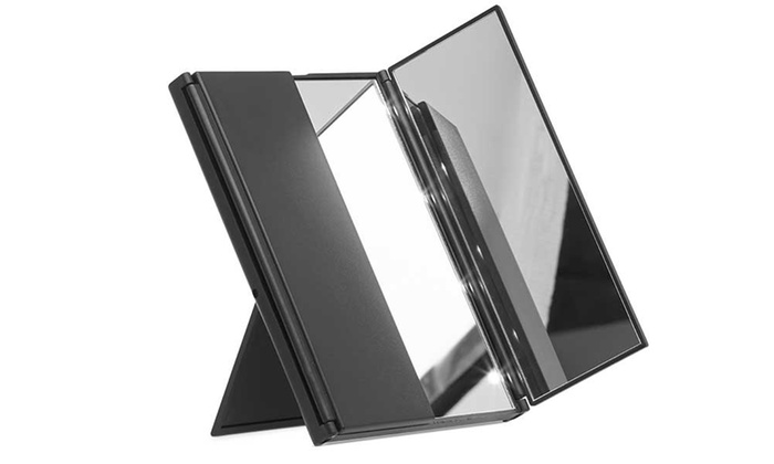 globrite eight led tri fold mirror groupon goods. Black Bedroom Furniture Sets. Home Design Ideas