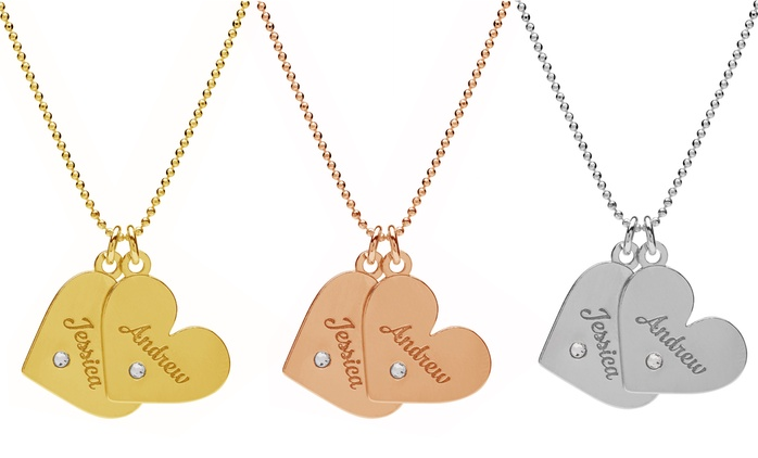 Engraved Double Heart Necklace with Crystals from Swarovski® from £19.99 With Free Delivery (Up to 80% Off)