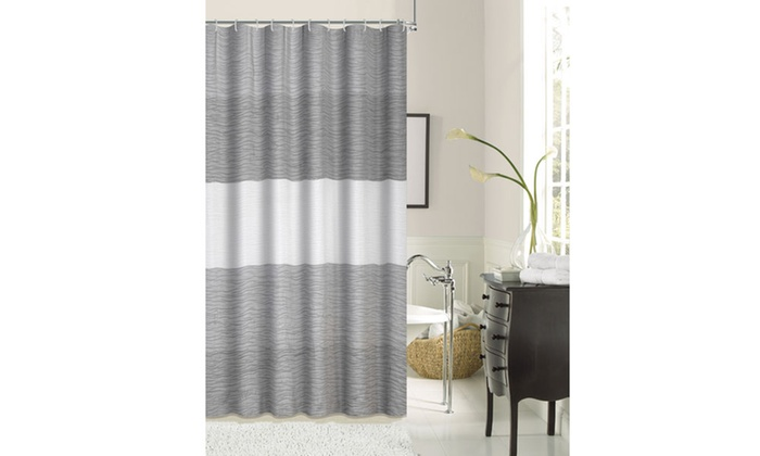 Dainty Home Fabric Shower Curtains With Printed Patterns
