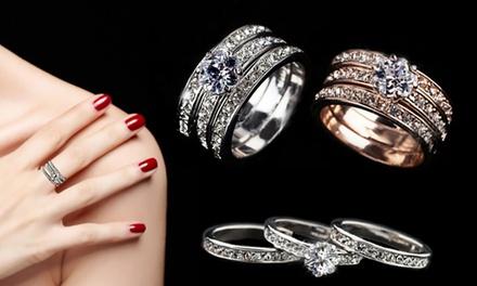 Set de 3 bagues plaquées or 18 carats et ornées de cristaux Swarovski® à 14,99 € (79% de réduction)