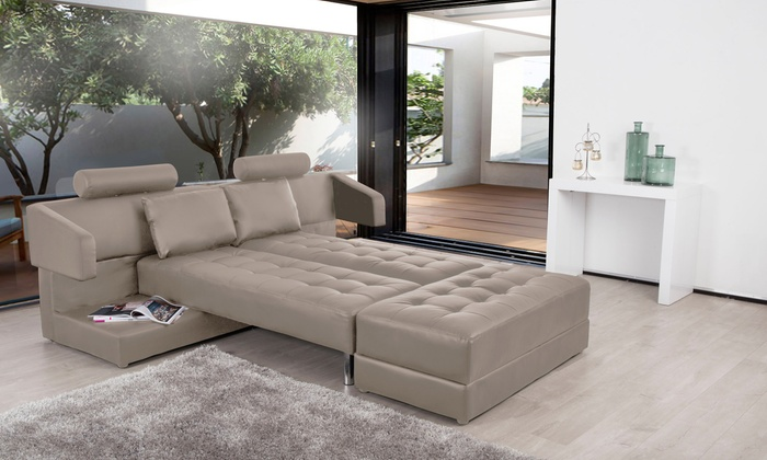 canap multifonction longuo modulable lit et table basse groupon shopping. Black Bedroom Furniture Sets. Home Design Ideas