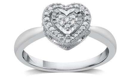 Diamond Accent Heart Shaped Fashion Ring in Sterling Silver by DeCarat