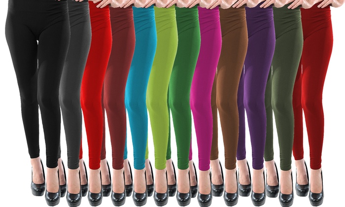 Women's High-Waisted Solid Leggings (12-Pack)