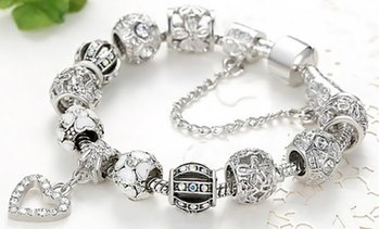 Crystal Heart Charm Bracelet Made with Swarovski Elements