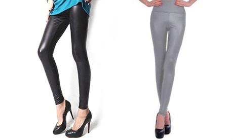 1 o 2 leggins efecto cuero para mujer