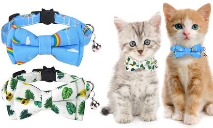Adjustable Cat Collar with Bell and Bow Tie: One ($13.95) or Two ($19.95)