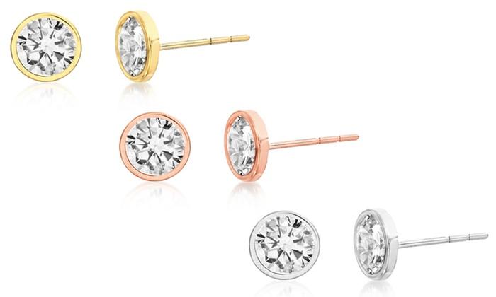 0d92a434b6bf3 Lesa Michele 6mm Bezel Cubic Zirconia Stud Earrings in 10K Gold