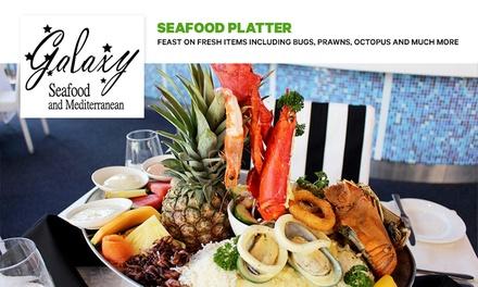 Seafood Platter: 2 ($59) + Dessert ($75) or 4 Ppl ($149) at Galaxy Seafood & Mediterranean Restaurant (Up to $558 Value)