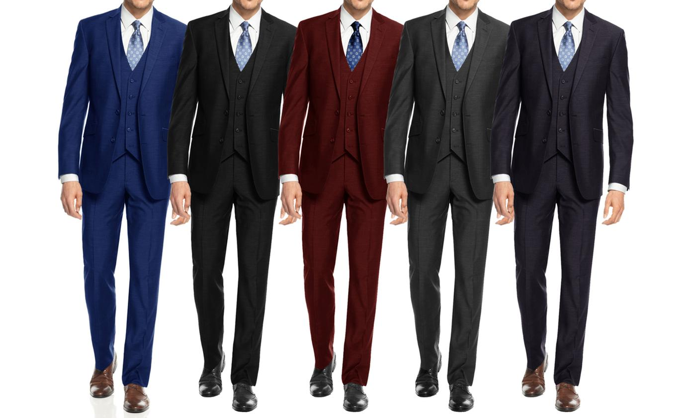 Braveman Mens Slim Fit Suits 3-Piece