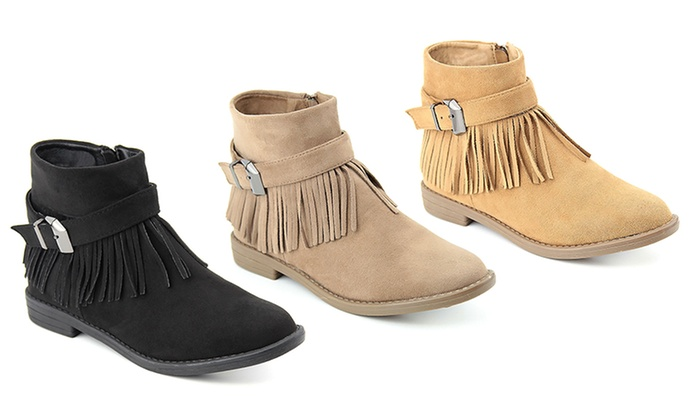 Women's Fringed Buckle-Strap Ankle Booties