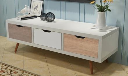 Meuble TV ou buffet scandinave avec tiroirs et portes