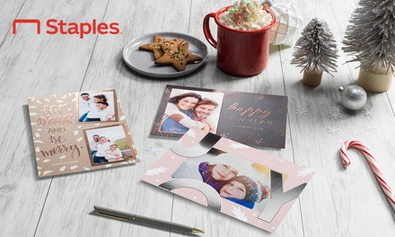 25, 50, 100, or 200 Single- or Double-Sided Holiday Cards or Invitations from Staples (Up to 70% Off)