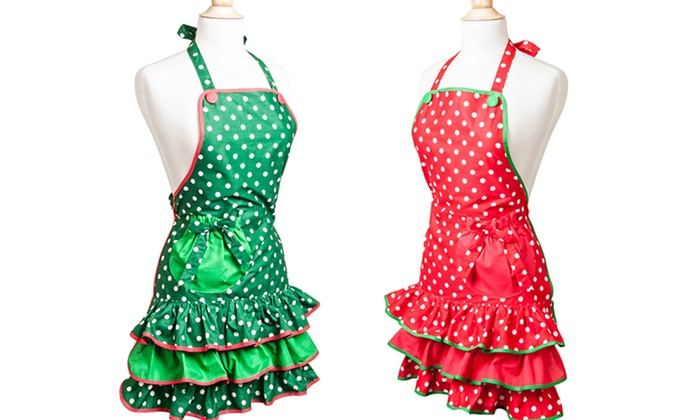 Flirty Aprons Women's Holiday Aprons: Flirty Aprons Women's Holiday Aprons with Red or Green Polka Dots. Free Returns.