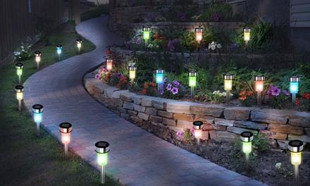 10, 20 or 30 White or Multicoloured Stainless Steel Solar LED Garden Lights