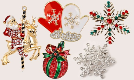 One, Two or Five Christmas Festive Brooches