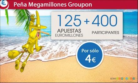 Juega 125 o 250 apuestas del Euromillón con la peña de Megamillones para 1 o 2 sorteos desde 4 € con Serviapuestas