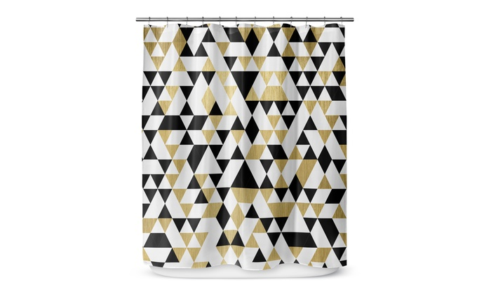 Kavka Designs Gold Black And White Shower Curtain