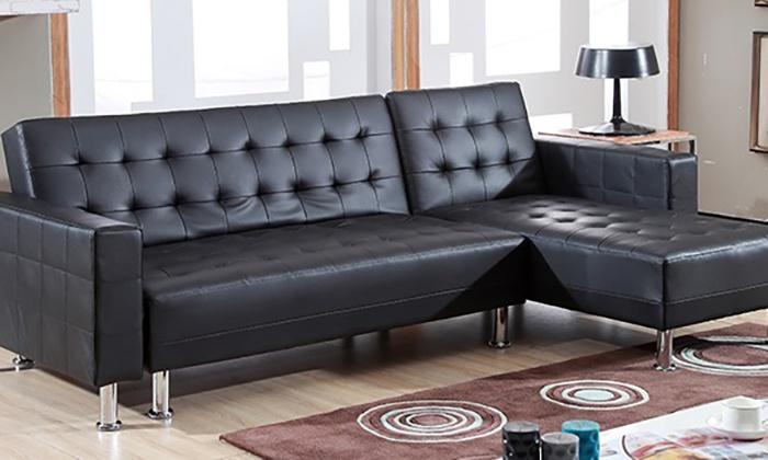acheter en ligne 36d4b 52fd6 Canapé d'angle simili cuir noir | Groupon Shopping