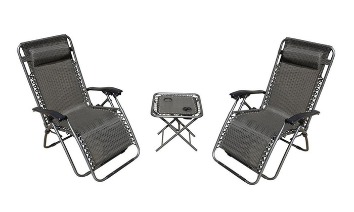 zero gravity chairs and folding table with cup holder set 3piece
