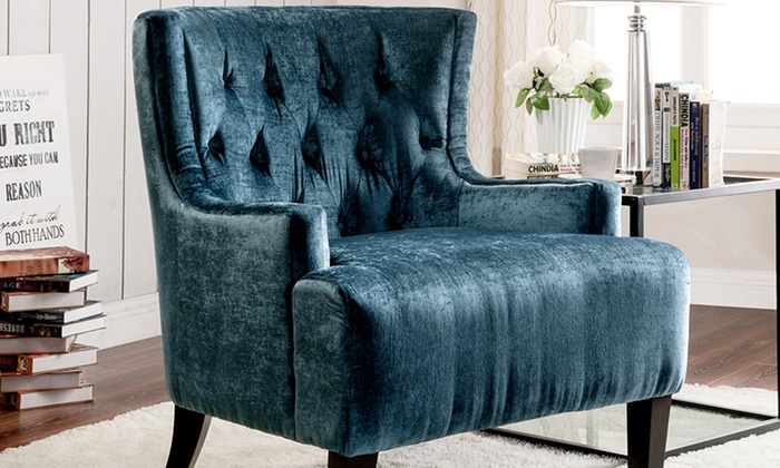 Astonishing Hemingway Velvet Accent Chair Groupon Goods Pabps2019 Chair Design Images Pabps2019Com
