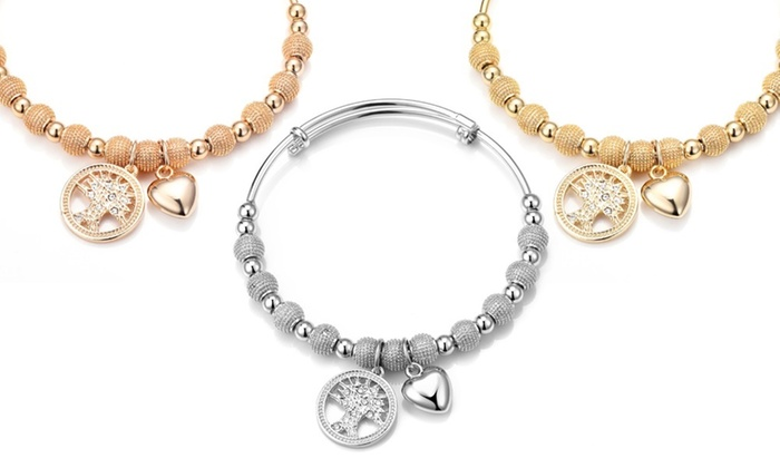 One, Two or Three Philip Jones Tree of Life Bangles with Crystals from Swarovski® for £8.99
