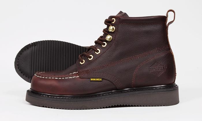 a382271c2ec Up To 21% Off on Bonanza Men's Moc-Toe Work Boots | Groupon Goods