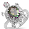 1.59 CTTW Lab-Created Topaz and Cubic Zirconia Turtle Ring