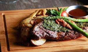 Oscars Table: Three-Course Steak Dinner with Wine for Two ($65) or Four People ($125) at Oscars Table, Docklands (Up to $276 Value)