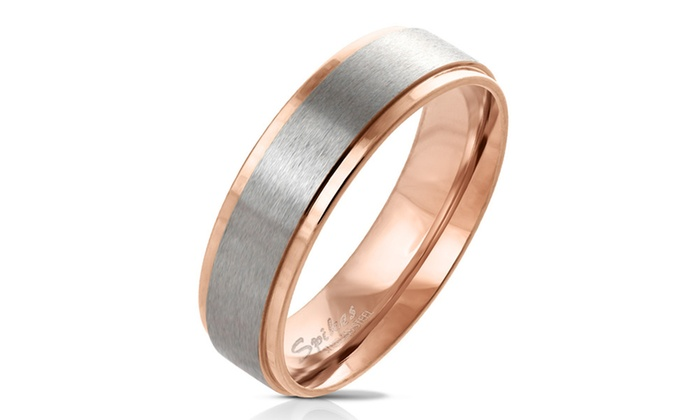 0323214ce5 Spikes Men's Rose Gold Plated Stepped Edge Wedding Band Ring | Groupon