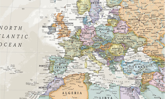 Giant World Map Murals | Groupon Goods on giant laminated world maps, giant tile murals, elephant wall mural, galaxy wall mural, world wall mural, enchanted forest wall mural, giant wall murals, peter pan wall mural,