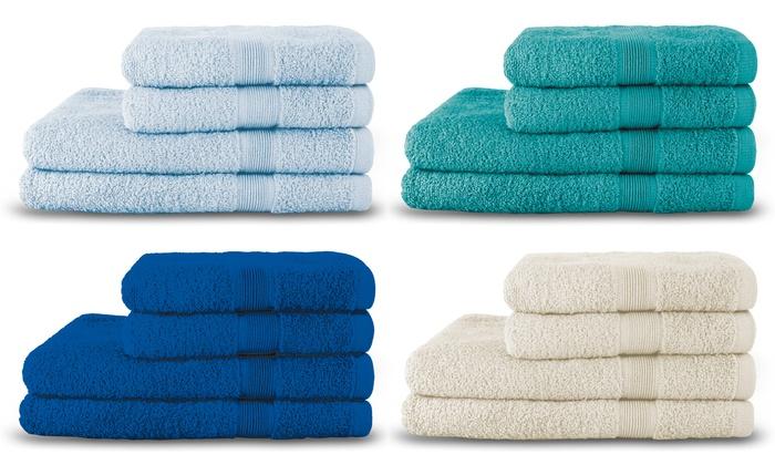 Set di 4 asciugamani in spugna