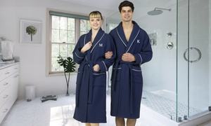 Linum Turkish Cotton Waffle Terry Robe with Block Monogram