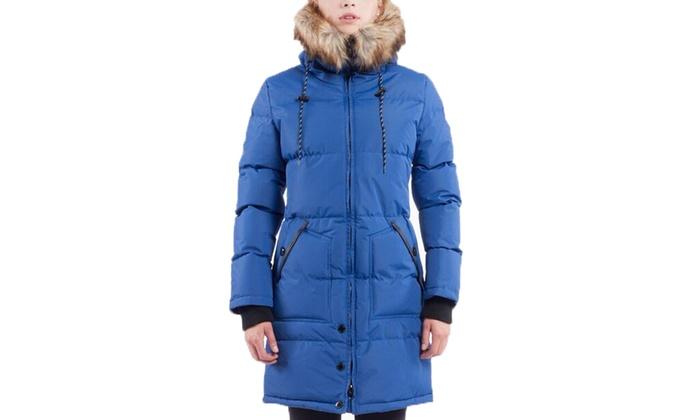 Women's Long Puffer Jacket with Faux-Fur Trim (Size L)