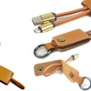 Leather Keychain MicroUSB And Type C Charging Cable