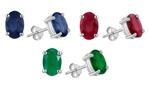 Genuine Ruby, Emerald, or Sapphire Oval Earrings in Sterling Silver