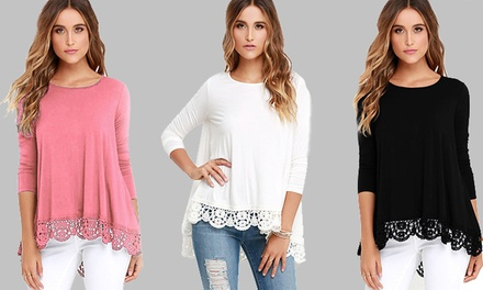Crochet Trim Top in Choice of Colour and Size for £7.99