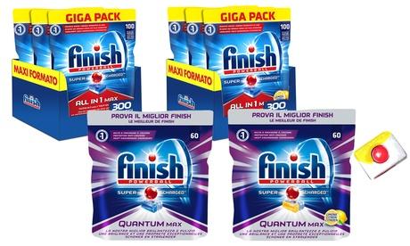 Fino a 5 confezioni di Finish Quantum Max 60 e Finish 100 all in 1 disponibili in 2 tipologie