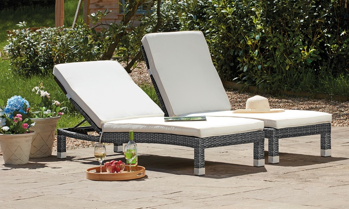 One or Two Garden Gear Palermo Rattan-Effect Loungers with Optional Cover