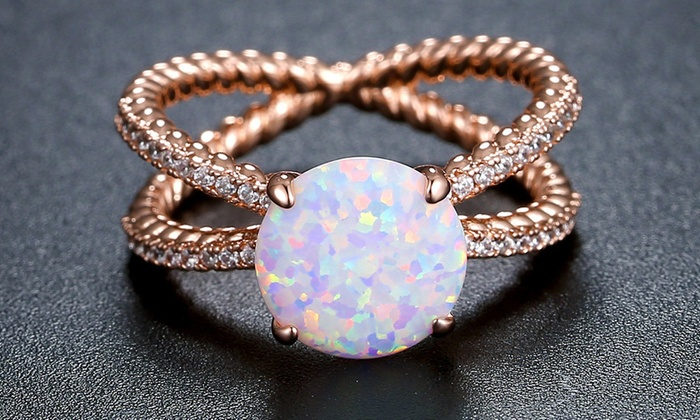 Design White Fire Opal Ring Fashion Jewelry Women Rose Gold Color Zircon Rings,7,Silver Plated