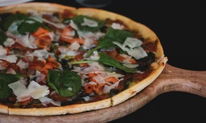 Earth And Ocean: Pizza with House Wine for Two ($35) or Four People ($69) at Earth And Ocean (Up to $134 Value)