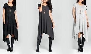 Women's Asymmetrical Hacci Dress with Pockets