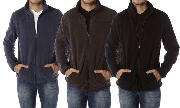 Vertical Sport Men's Full-Zip Fleece Jacket with Adjustable Side Drawstrings (2-Pack)