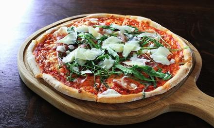2 tranci di pizza gourmet, acqua
