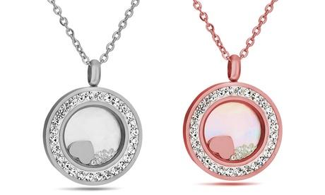 1 o 2 sets de collares con colgante de corazón flotante e incrustaciones de cristales de Swarovski®