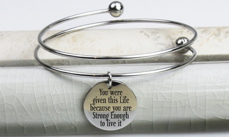 Pink Box Double-Wrap Stainless Steel Inspirational Bangles